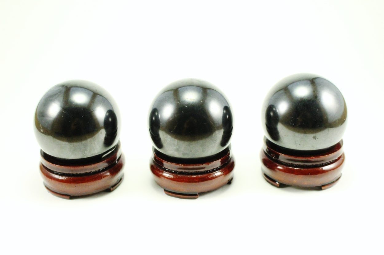 Crystal Dreams Polished Shungite Crystal Spheres With Wooden Base Included -100% Natural 4